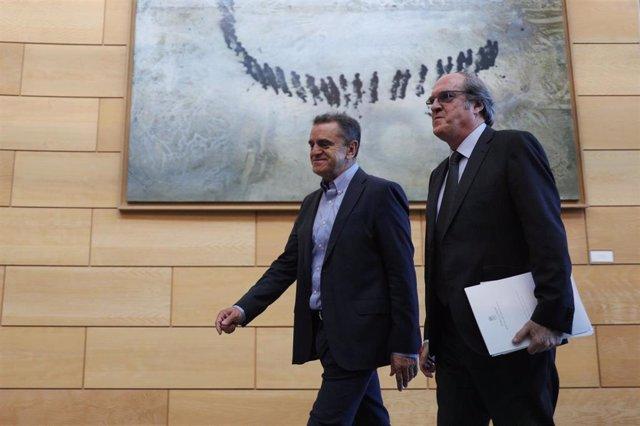 Archivo - Imagen de recurso del secretario general del PSOE en la Comunidad de Madrid, José Manuel Franco; y el portavoz de la formación en la Asamblea de Madrid,, Ángel Gabilondo.