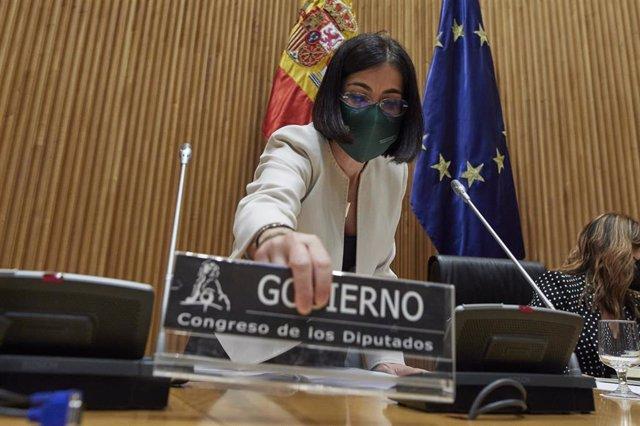 La ministra de Sanitat, Carolina Darias, compareix en la Comissió de Sanitat i Consum a la Sala Ernest Lluch del Congrés dels Diputats, a Madrid, (Espanya), a 11 de març de 2021. En la sessió, Darias explicarà les línies generals que té previst