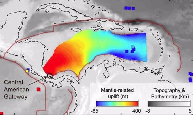 Una imagen de la superficie deformada de la Tierra del Caribe muestra su inclinación debido al manto que fluye hacia el este debajo del Caribe que empuja hacia arriba el Caribe occidental.