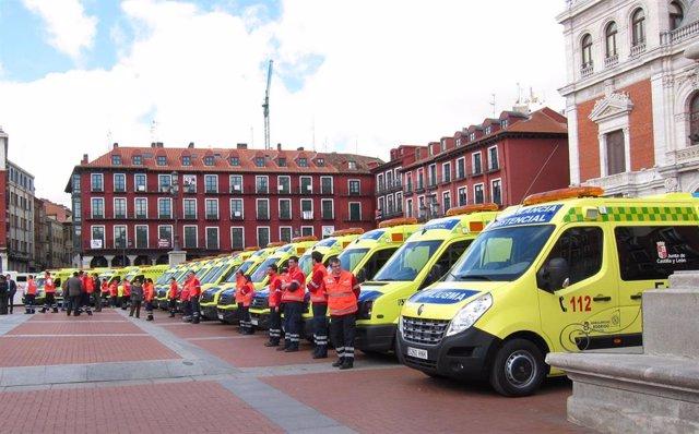 Archivo - Imagen de archivo de ambulancias de transporte sanitario en Valladolid.