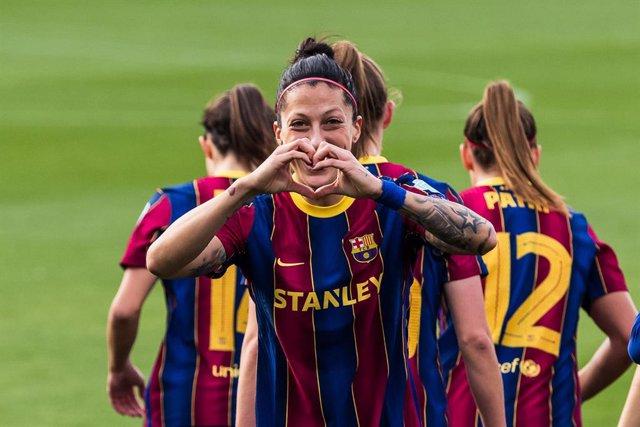 Jennifer Hermoso of Fc Barcelona Femeni celebrates a goal during the UEFA Women's Champions League round of 1/8 first leg, match between FC Barcelona Femeni and Fortuna Hjorring at Johan Cruyff Stadium on March 03, 2021 in Barcelona, Spain.