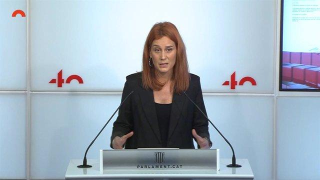 La líder dels comuns al Parlament, Jéssica Albiach, en una conferència de premsa.
