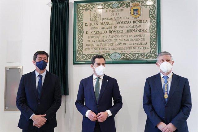 El presidente de la Junta, Juanma Moreno, inaugura el nuevo Ayuntamiento de Palos de la Frontera (Huelva).