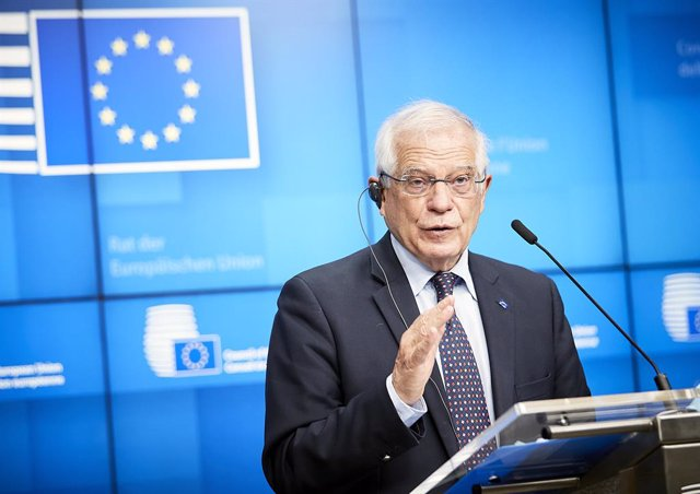 HANDOUT - 22 February 2021, Belgium, Brussels: European Union High Representative for Foreign Affairs and Security Policy Josep Borrell speaks during a press conference after an EU Foreign Ministers meeting. Photo: Mario Salerno/European Council/dpa - ATT