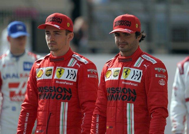 12 March 2021, Bahrain, Sakhir: Spanish Formula One driver Carlos Sainz Jr (R) and Monegasque teammate Charles Leclerc of team Scuderia Ferrari are seen on the track during the 2021 Formula 1 Pre-Season testing at the Bahrain International Circuit. Photo: