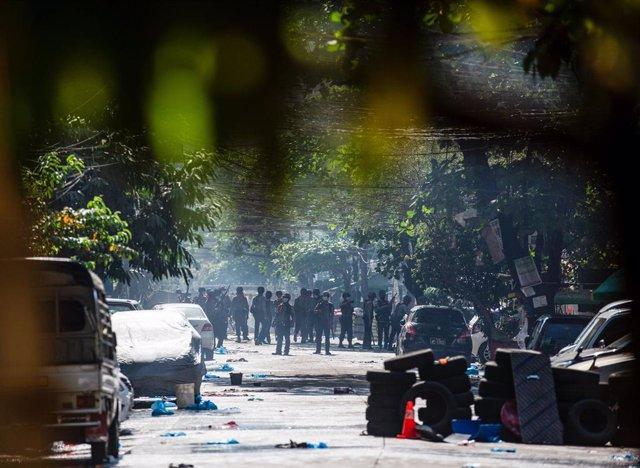 Manifestación en Rangún contra la junta militar birmana.