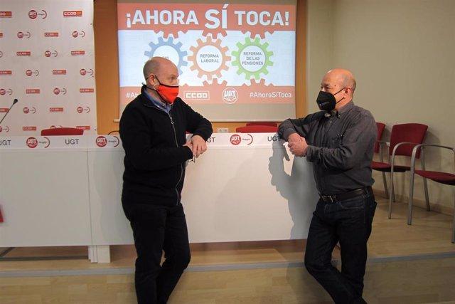 Archivo - Manuel Pina y Daniel Alastuey en la presentación de las movilizaciones del 11 de febrero.