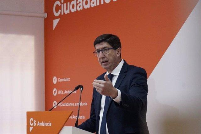 El coordinador autonómico de Ciudadanos (Cs) y vicepresidente de la Junta de Andalucía, Juan Marín.