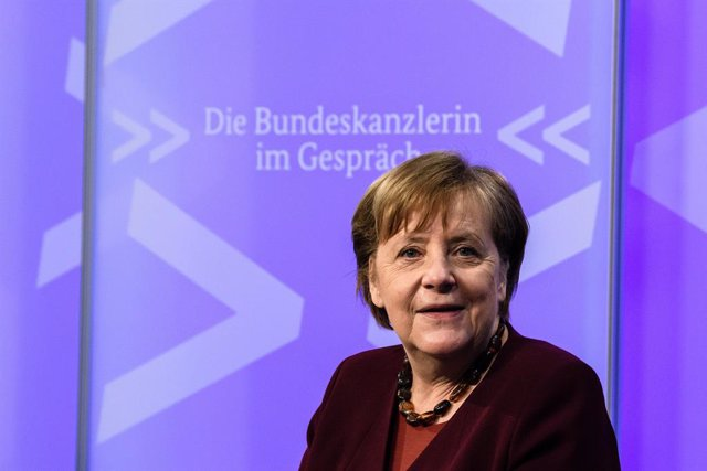 "10 March 2021, Berlin: German Federal Chancellor Angela Merkel attends a video conference of the digital dialogue series ""Interview with the Chancellor"", during which Merkel engages in conversations with citizens. Photo: Clemens Bilan/EPA/EPA-EFE"