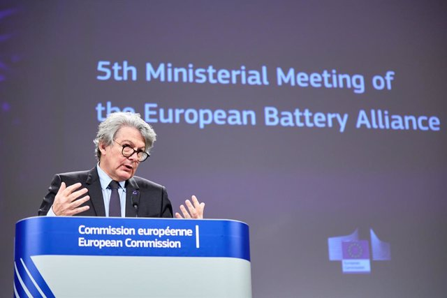 HANDOUT - 12 March 2021, Belgium, Brussels: European Commissioner for Internal Market Thierry Breton speaks during a press conference regarding the European Battery Alliance at EU headquarters in Brussels. Photo: Claudio Centonze/European Commission/dpa -