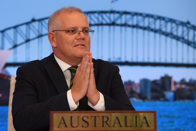 The Prime Minister of Australia Scott Morrison is seen participating in the inaugural Quad leaders meeting with the President of the United States Joe Biden, the Prime Minister of Japan Yoshihide Suga and the Prime Minister of India Narendra Modi in a vir