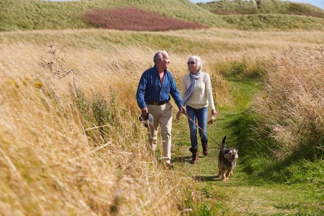 Archivo - Senior Couple Taking Dog For Walk In Countryside