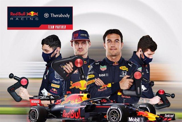 Therabody, patrocinador del equipo Red Bull de fórmula uno.