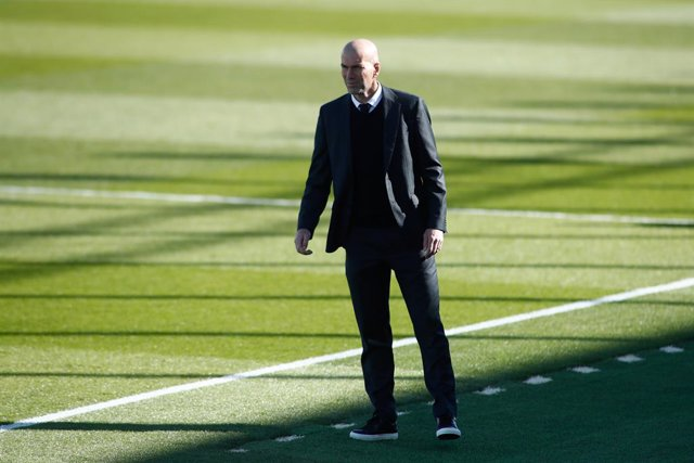 Zinedine Zidane, head coach of Real Madrid, looks on during the spanish league, La Liga Santander, football match played between Real Madrid and Elche at Alfredo di Stefano stadium on March 13, 2021, in Valdebebas, Madrid, Spain.
