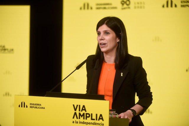 La secretària general adjunta i portaveu d'ERC, Marta Vilalta, en una conferència de premsa telemàtica.