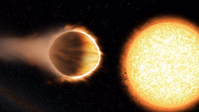 La ilustración de un artista del exoplaneta WASP-121b, que parece tener agua en su atmósfera.