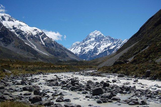 Glaciar al pie del Monte Cook, el techo de Nueva Zelanda