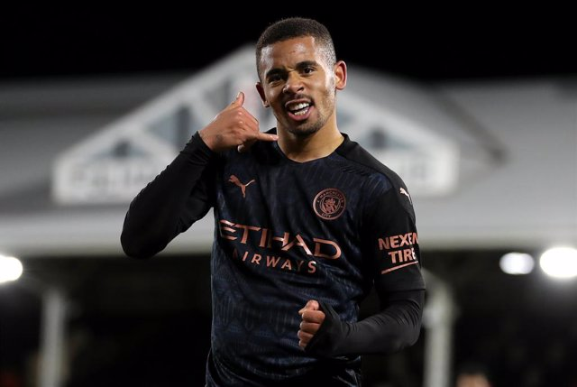 13 March 2021, United Kingdom, London: Manchester City's Gabriel Jesus celebrates scoring his side's second goal during the English Premier League soccer match between Fulham and Manchester City at Craven Cottage. Photo: Catherine Ivill/PA Wire/dpa