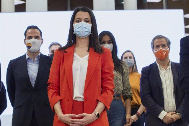 La presidenta de Ciudadanos, Inés Arrimadas, tras la ejecutia del partido