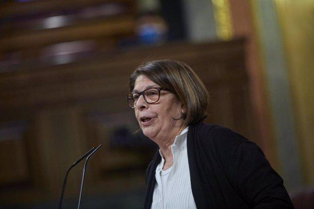 La diputada de Más País, Inés Sabanés, interviene durante una sesión plenaria en el Congreso de los Diputados, en Madrid (España), a 9 de marzo de 2021.