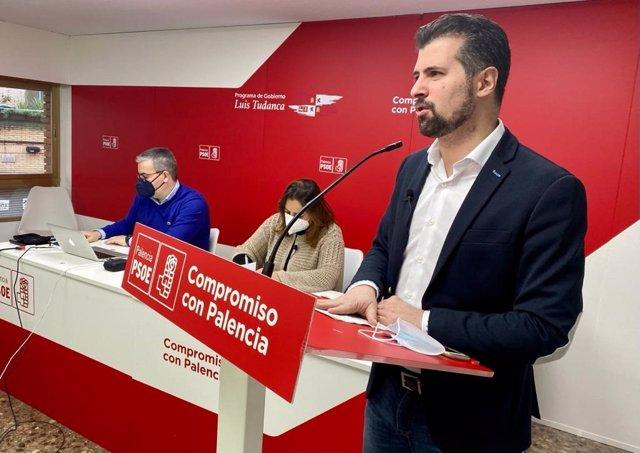 El secretario general del PSOECyL, Luis Tudanca, durante su intervención en el Comité Provincial del PSOE de Palencia.