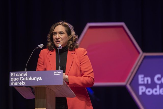Archivo - Arxiu - L'alcaldessa de Barcelona, Ada Colau, intervé en un acte electoral d'En Comú Podem.
