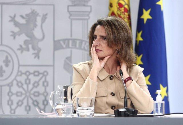 La vicepresidenta cuarta y ministra para la Transición Ecológica y el Reto Demográfico, Teresa Ribera, durante una rueda de prensa posterior al Consejo de Ministros