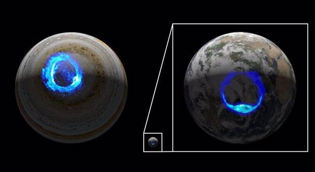 Esta ilustración muestra auroras polares ultravioleta en Júpiter y la Tierra.
