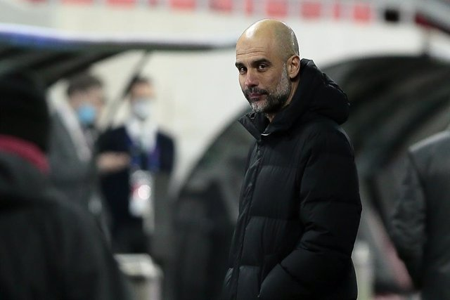 16 March 2021, Hungary, Budapest: Manchester City manager Pep Guardiola is pictured after the UEFA Champions League round of 16 second leg soccer match between Manchester City and Borussia Moenchengladbach at Puskas Arena. Photo: Trenka Atilla/PA Wire/dpa