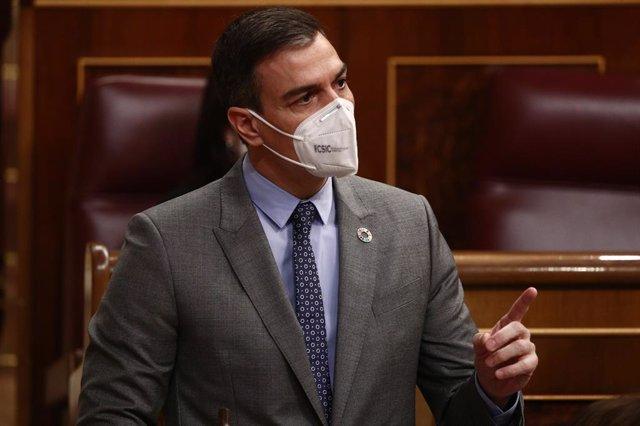 El president del Govern, Pedro Sánchez, intervé durant una sessió de Control al Govern.