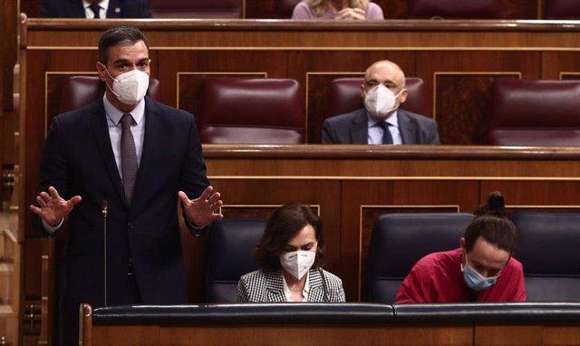 El presidente del Gobierno, Pedro Sánchez, interviene durante una sesión de Control al Gobierno en el Congreso de los Diputados, en Madrid, (España), a 17 de marzo de 2021. Entre otras cuestiones, el pleno estará marcado por las preguntas que la oposición