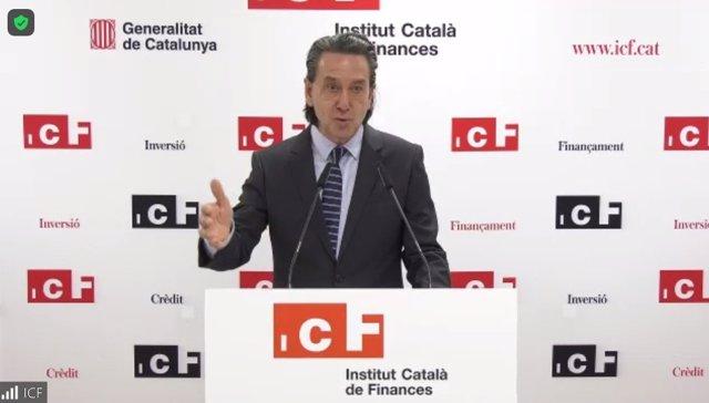 El conseller delegat de l'entitat financera ICF, Víctor Guardiola, en la presentació dels resultats del 2020.