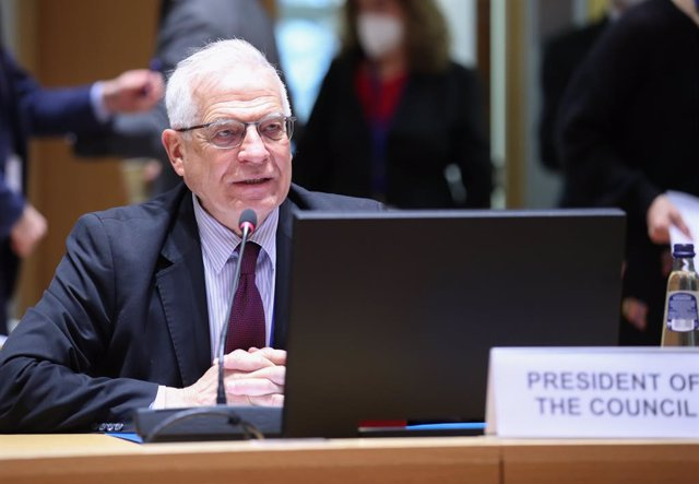 HANDOUT - 15 March 2021, Belgium, Brussels: European Union foreign policy chief Josep Borrell attends the EU Foreign and Interior ministers meeting at the European Council headquarters in Brussels. Photo: Mario Salerno/EU Council/dpa - ATTENTION: editoria