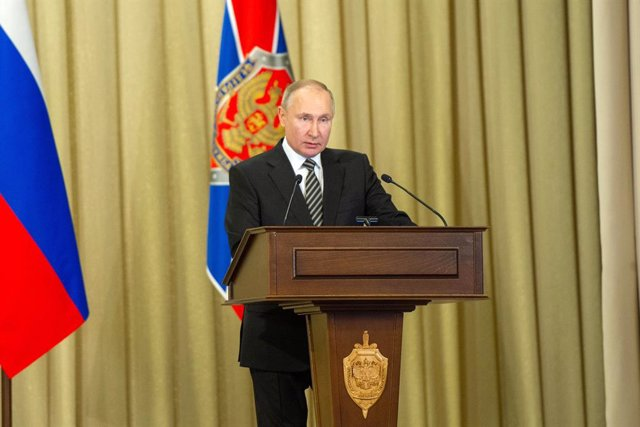 HANDOUT - 24 February 2021, Russia, Moscow: Russian President Vladimir Putin speaks during a meeting of the board of the Russian Federal Security Service (FSB). Photo: -/Kremlin /dpa - ATTENTION: editorial use only and only if the credit mentioned above i
