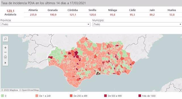 Mapa de Andalucía con nivel de incidencia de Covid-19 por municipios a 17 de marzo de 2021
