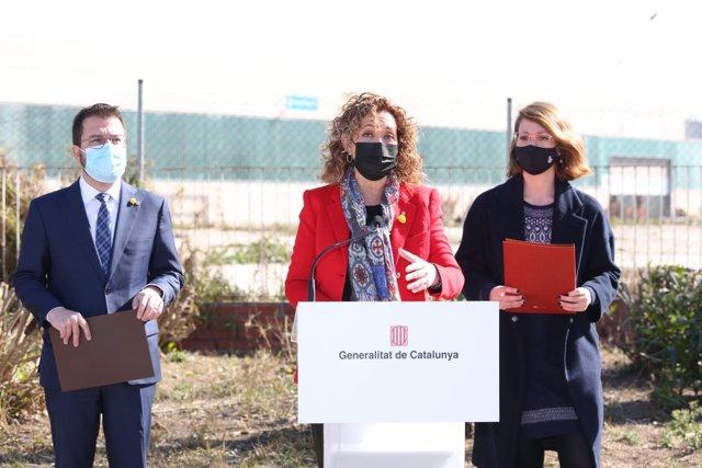 La consellera Ester Capella en la presentación de las dos nuevas cárceles en la Zona Franca.