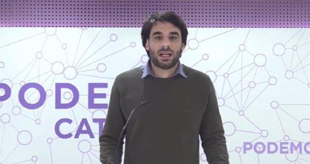 Archivo - El diputat dels comuns i portaveu de Podem, Lucas Ferro, en una roda de premsa telemàtica (Arxiu)