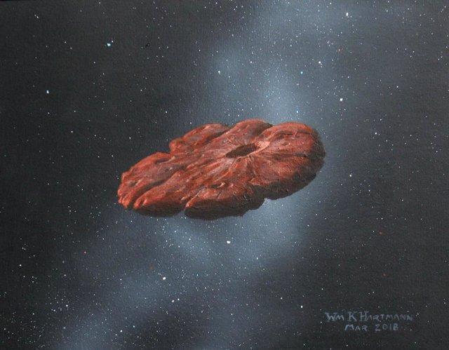 Concepto del artista del objeto interestelar 'Oumuamua como un disco en forma de panqueque.