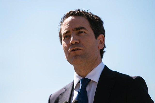 El secretario general del PP, Teodoro García Egea, durante una rueda de prensa en Mérida, Badajoz, Extremadura (España), a 16 de marzo de 2021