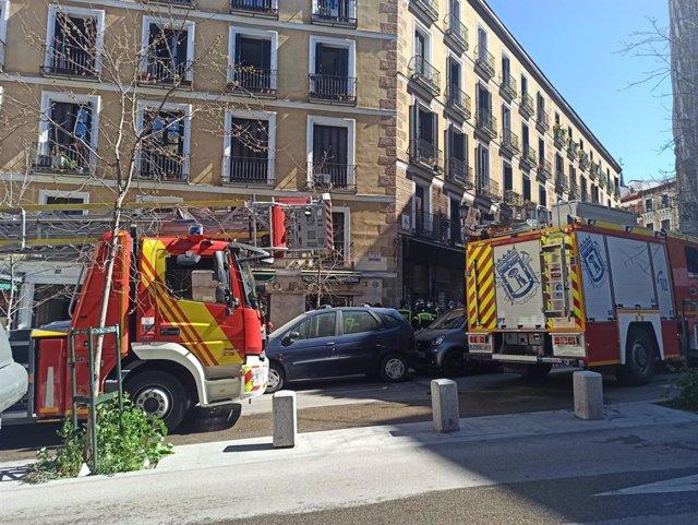 Incendio en una vivienda en la Plaza de Herreros de la capital