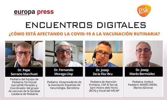 Los pediatras Pepe Serrano Marchuet, Fernando Moraga-Llop, Josep De la Flor Bru y Josep Marès Bermúdez en un Encuentro Digital de Salud de Europa Press con GSK sobre vacunación infantil