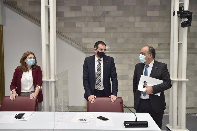 Mabel Campuzano, Juan José Liarte y Francisco Carrera, diputados del Grupo Parlamentario Vox