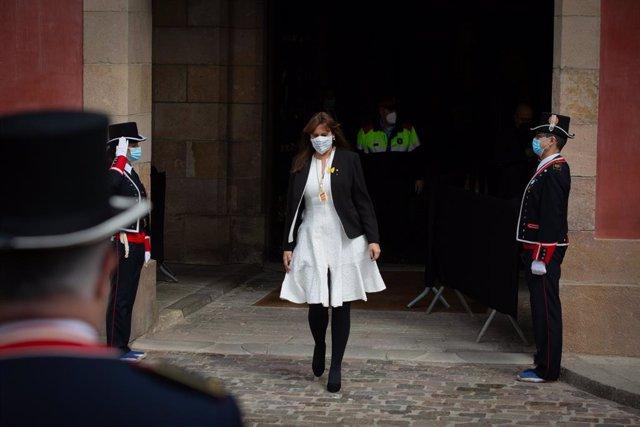 La candidata de Junts, Laura Borràs, quan sortia de l'Auditori del Parlament de Catalunya després de ser proclamada nova presidenta de la cambra catalana de la XIII legislatura, a Barcelona. Catalunya, (Espanya), 12 de març del 2021.