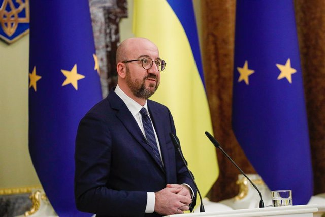 HANDOUT - 03 March 2021, Ukraine, Kiev: European Council President Charles Michel speaks during a joint press conference with Ukrainian President Volodymyr Zelensky (not pictured) following talks on Crimean Platform summit and calling on the European Unio