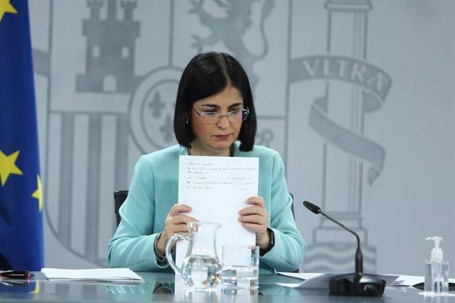 La ministra de Sanidad, Carolina Darias, ofrece una rueda de prensa tras la reunión del Consejo Interterritorial de Salud, en Madrid (España), a 17 de marzo de 2021. Se trata de la segunda comparecencia de Darias tras la suspensión temporal de la vacunaci