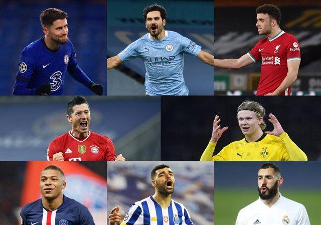 Jugadores de los ocho equipos clasificados para cuartos de final de la Liga de Campeones 2020/21