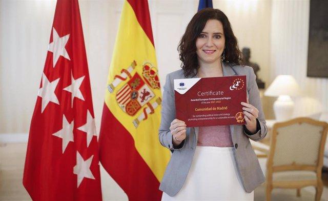 La Comunidad de Madrid, premiada por el Comité Europeo de las Regiones por su estrategia para potenciar el emprendimiento