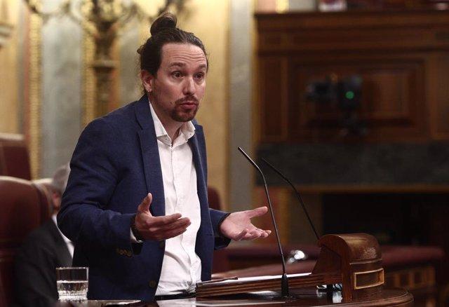 El líder de Podem i vicepresident segon del Govern espanyol, Pablo Iglesias, al Congrés dels Diputats.