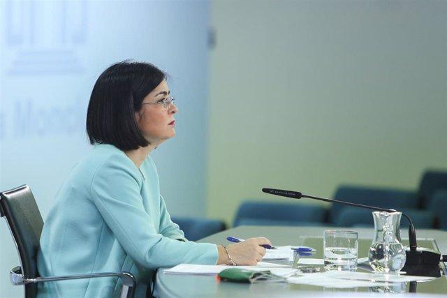 La ministra de Sanidad, Carolina Darias, ofrece una rueda de prensa tras la reunión del Consejo Interterritorial de Salud, en Madrid (España), a 17 de marzo de 2021.