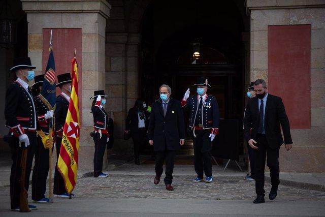 Els Mossos reben l'expresident de la Generalitat Quim Torra al Parlament. Catalunya (Espanya), 12 de març del 2021.